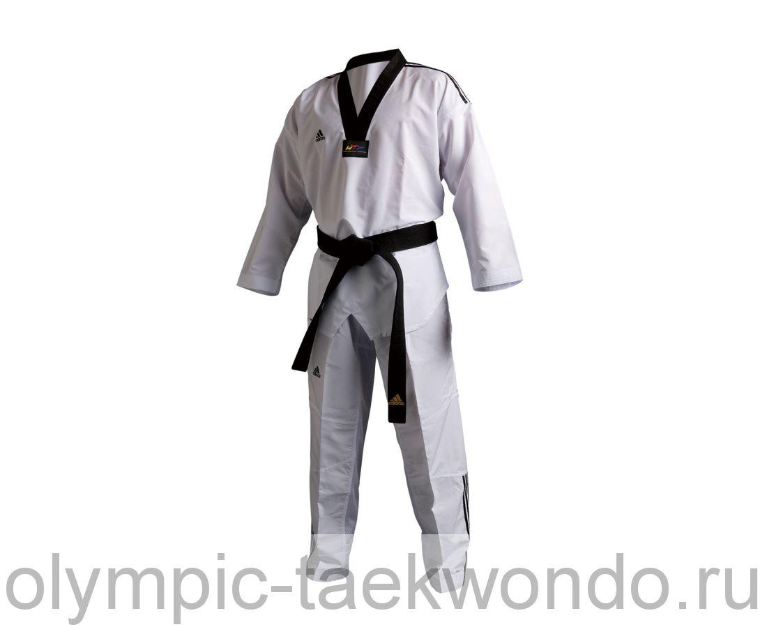 Добок для тхэквондо WTF Adi-Club 3 белый с черным воротником